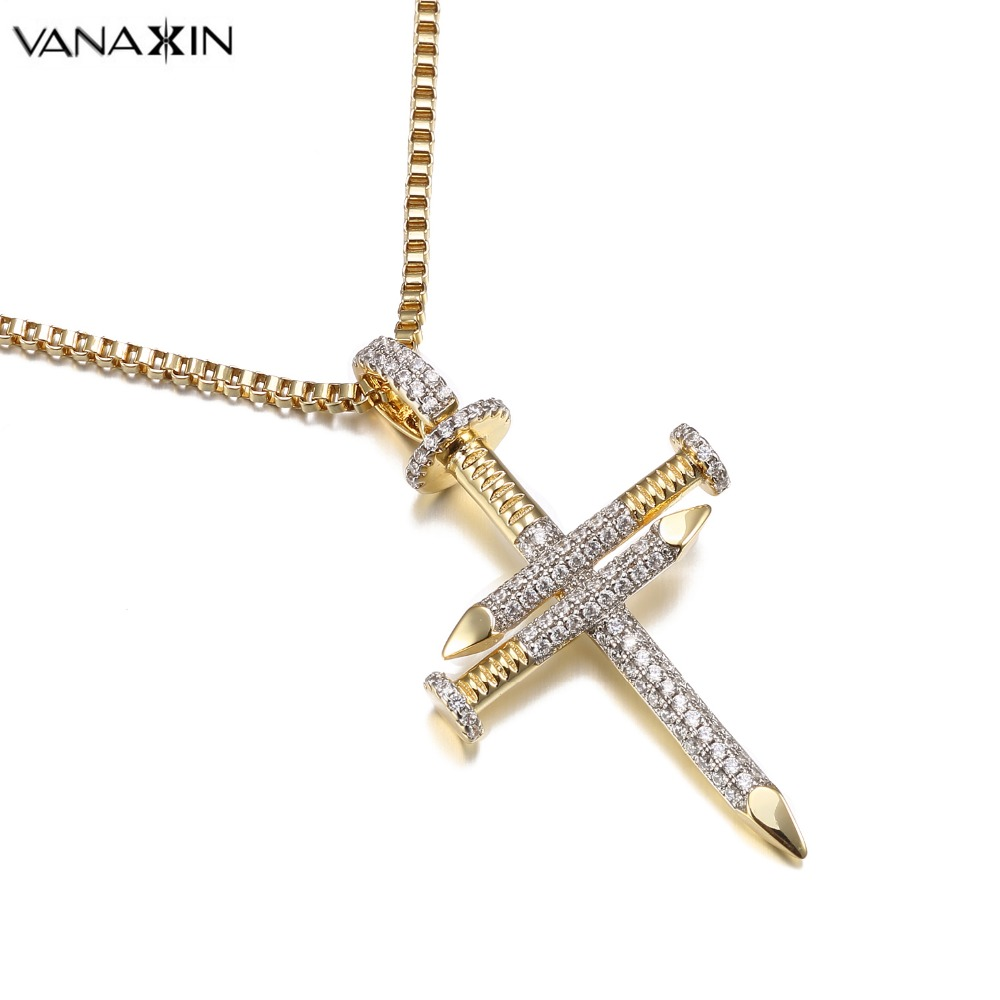 VANAXIN Nail Gold/Silver Color Cross Jesus Necklace Christ Pendants Bling Bling CZ Fashion Jewelry For Women Hip Hop Charms Men vanaxin cz crystal 100 pendant necklace for men punk hiphop jewelry cz gold color unisex necklace fashion women accessories gift