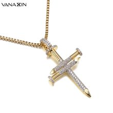 VANAXIN Nail Gold/Silver Color Cross Jesus Necklace Christ Pendants Bling Bling CZ Fashion Jewelry For Women Hip Hop Charms Men(China)