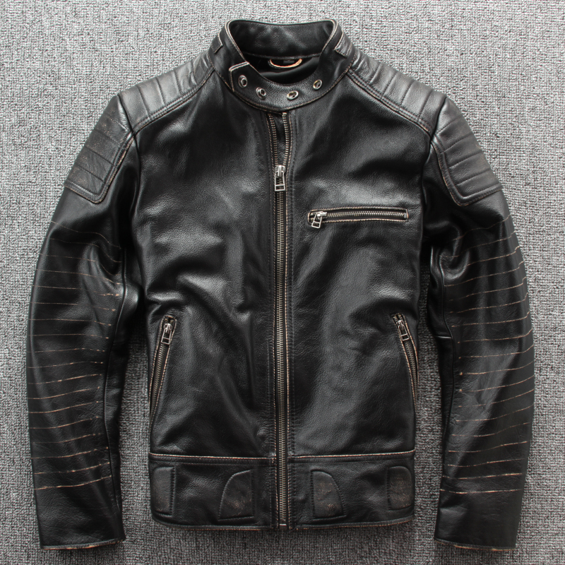 Man Black Vintage Leather Clothing Motorcycle Jacket Cow Leather Plus Size Motorcycle Leather Coat
