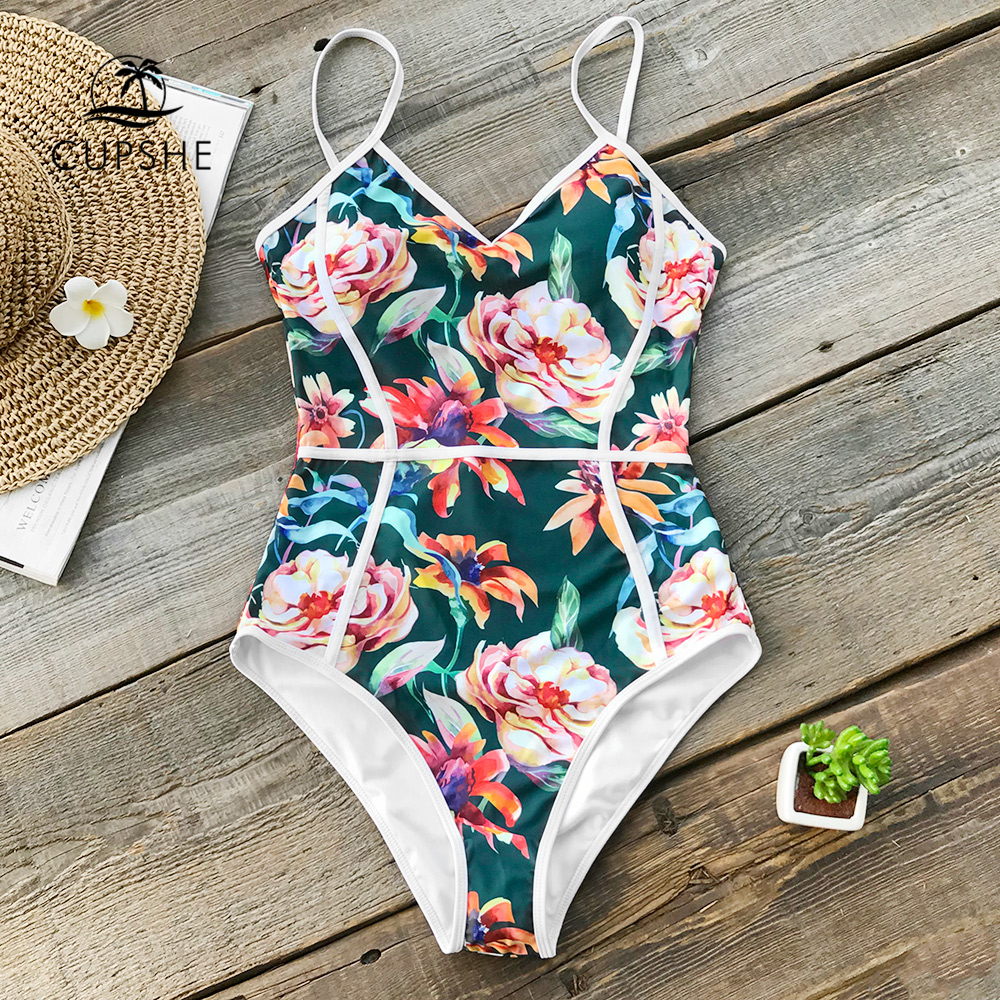 CUPSHE Tropical Floral Print V-neck One-piece Swimsuit Women Piping Monokini Bathing Suit 2019 Girl Sexy Swimwear