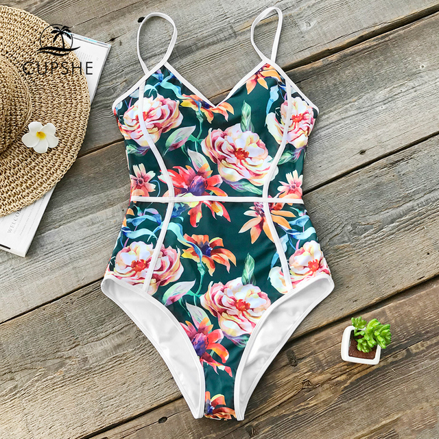 446551587f CUPSHE Tropical Floral Print V-neck One-piece Swimsuit Women Piping Monokini  Bathing Suit