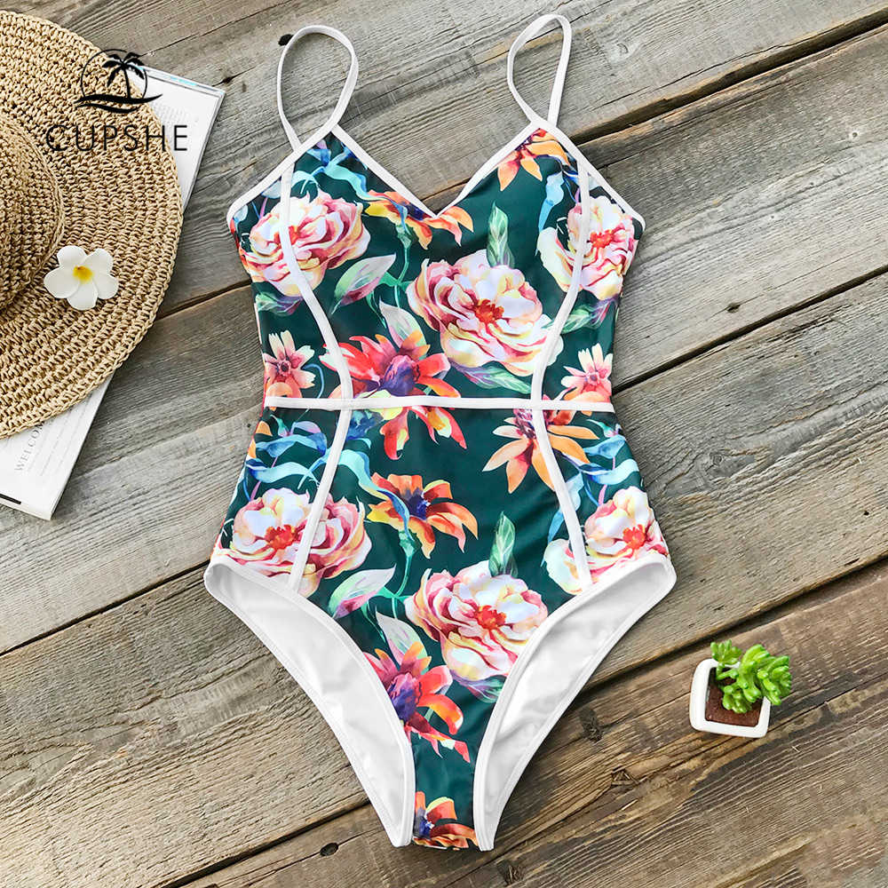 1448f05ccd82b CUPSHE Tropical Floral Print V-neck One-piece Swimsuit Women Piping Monokini  Bathing Suit