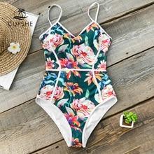 CUPSHE טרופי פרחוני הדפסת V צוואר מקשה אחת בגד ים נשים צנרת Monokini רחצה חליפת 2020 ילדה סקסי בגדי ים