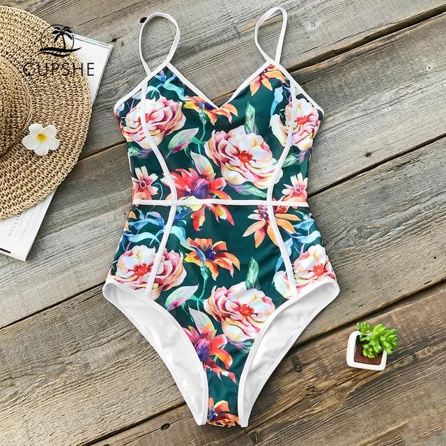 CUPSHE 열대 꽃 프린트 v 넥 원피스 수영복 여성 파이핑 Monokini 수영복 2020 Girl Sexy Swimwear