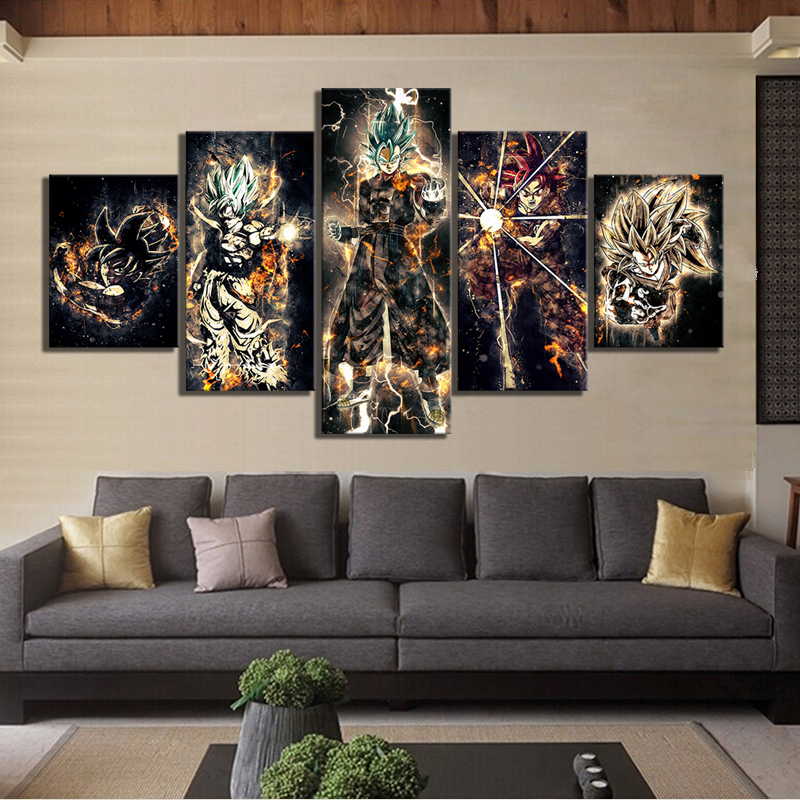 5 Piece Cartoon Artwork Paintings Dragon Ball Poster Animation Art Canvas Paintings Abstract Wall Art for Home Decor 4