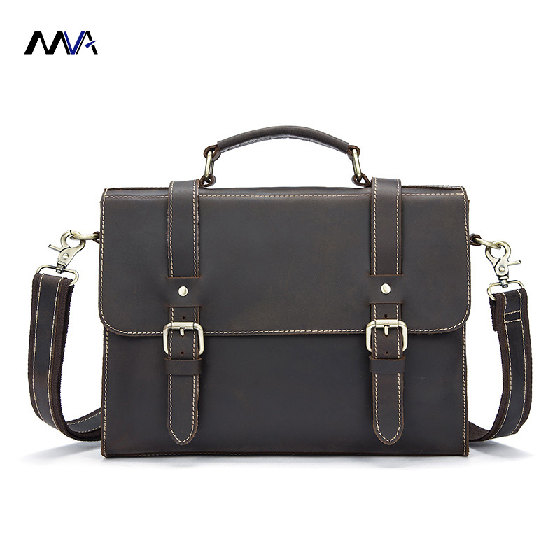 MVA Men Bags Crazy Horse Leather Casual Briefcase Portfolio Genuine Leather Man Business Bag Messenger Shoulder Laptop Bag vintage genuine leather men briefcase bag business men s laptop notebook high quality crazy horse leather handbag shoulder bags