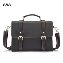 MVA Men Bags Crazy Horse Leather Casual Briefcase Portfolio Genuine Leather Man Business Bag Messenger Shoulder Laptop Bag