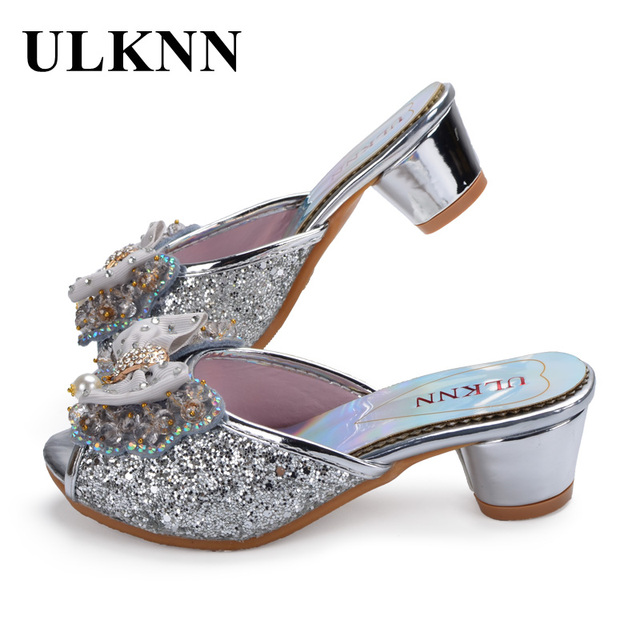 c67d2e887491 ULKNN Girls Casual Sandals Low Heels Butterfly Pearl Glitter Open Toe  Slippers Summer Beach Shoes For Female Children Kids