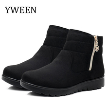 YWEEN  Warm Winter Boots Female Women Shoes Faux Suede Ankle Boots For Women Botas Mujer Plush Insole Snow Boots Big Size все цены