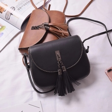 Vintage Fashion Women Fringe Bucket Shoulder Bag High Quality PU Messenger Crossbody Female Tassel