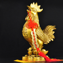 Brass Rooster Statue Feng Shui Handmade Chicken Figurine Collection Home Decor golden brass charging stock market bull figurine wall street bull ox statue feng shui scuplture home office decor