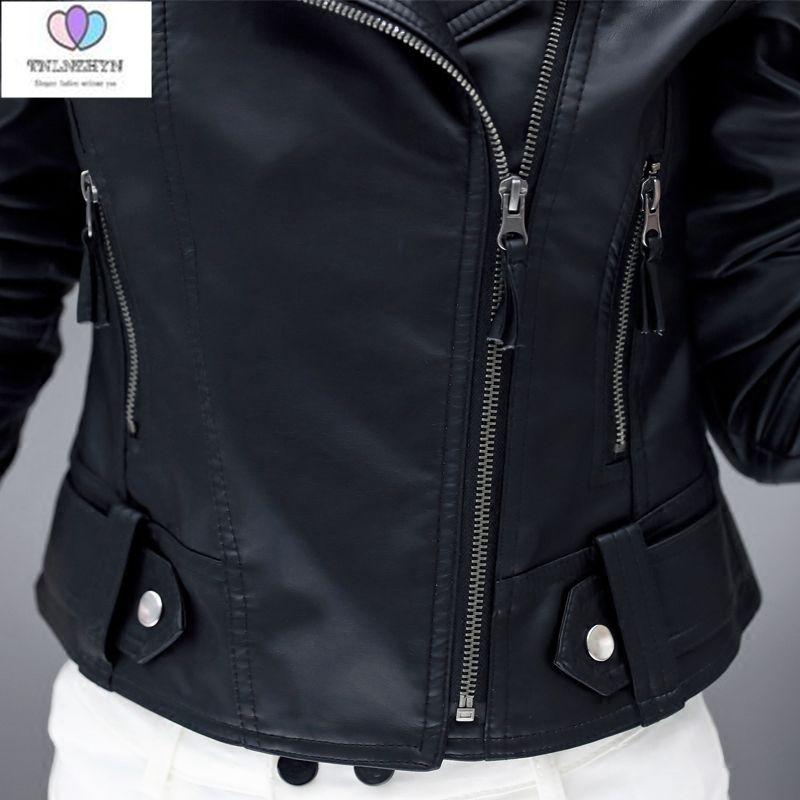 af044be2c08c4 TNLNZHYN 2019 printemps manteaux mode cuir veste femmes court pardessus  daim veste Slim noir véritable faux cuir vestes AL75 dans En cuir et Suède  de Mode ...