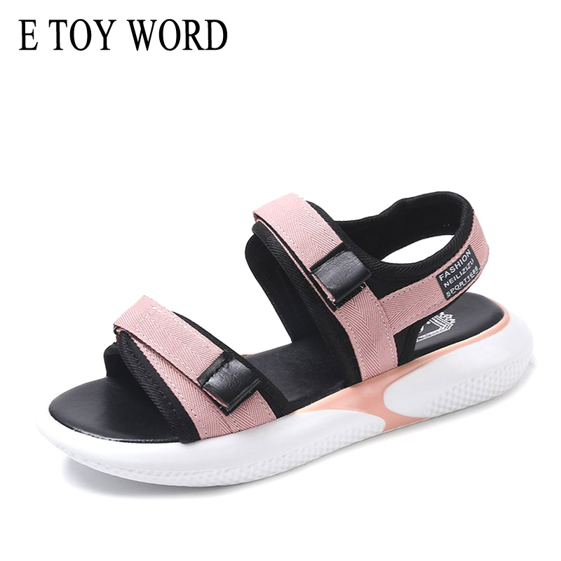 E TOY WORD Women Sandals 2019 Summer Casual shoes woman Hook & Loop platform sandals Beach Woman zapatos mujer