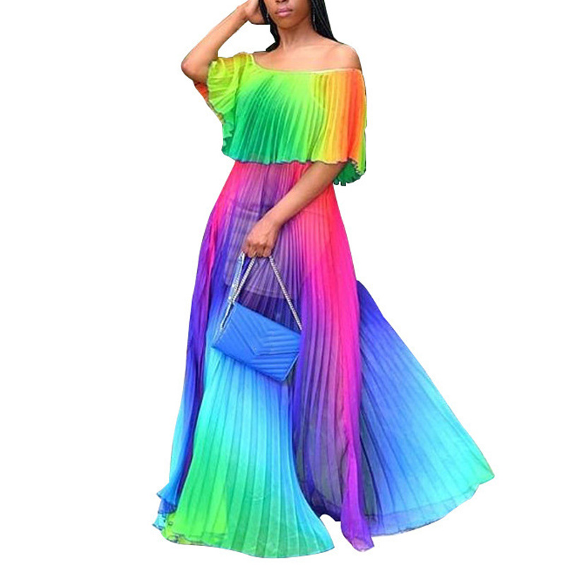 Summer chiffon beach dress new bohemian sexy print dress fashion casual loose large size dress in Dresses from Women 39 s Clothing