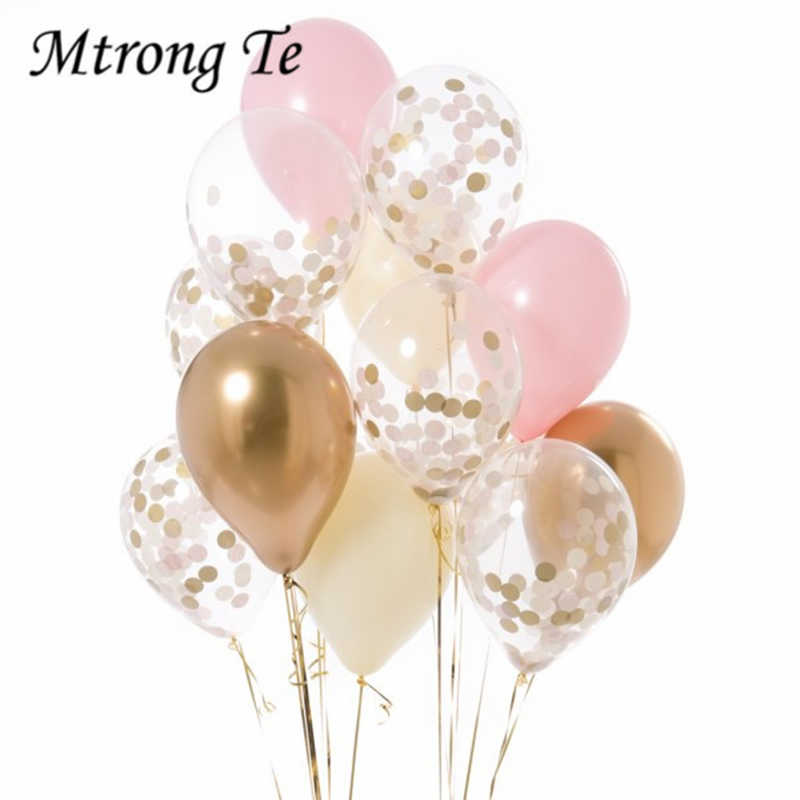 12pcs 12inch Gold pink white latex Balloons confetti Air Helium balloon Wedding Birthday Party Decoration anniversary balloon