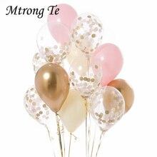 Globos de látex de confeti con globos metalizados, decoración de fiesta, boda, aniversario de boda, 12 Uds.