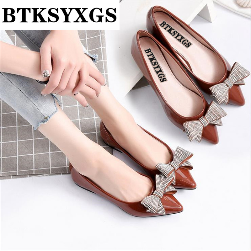 2017 Women's flats leather Woman casual flat heel shoes Fashion diamond bowknot pointed toe comfortable soft bottom Women shoes new listing pointed toe women flats high quality soft leather ladies fashion fashionable comfortable bowknot flat shoes woman