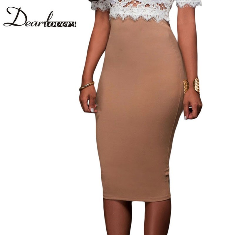 d12122b84 Dear lover Spring 2017 Womens Office Pencil Skirts White Super Sleek ...