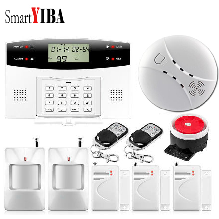 SmartYIBA LCD Wireless GSM Alarm Keypad Burglar Security Alarm System With Pir Motion Sensors Russian Spanish French Italian