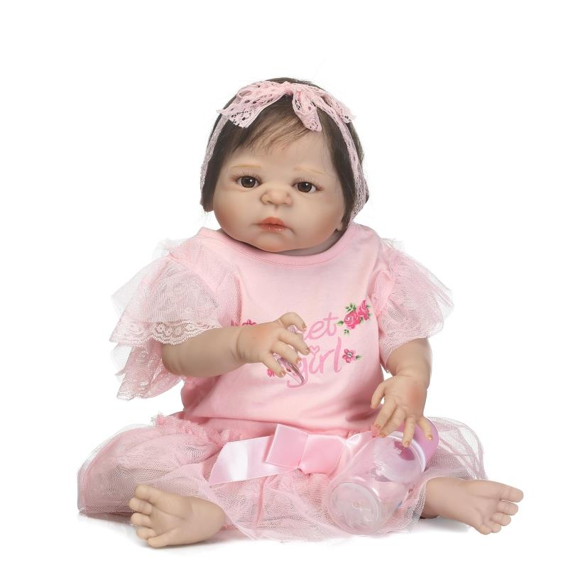 New 57CM Full Silicone Body Reborn Baby Doll Toys Lifelike Newborn Princess Girl Babies Toddler Dolls Birthday Gift Bathe Toy hot 57cm full body silicone reborn sweet girl baby doll toys newborn princess toddler babies doll birthday gift child bathe toy