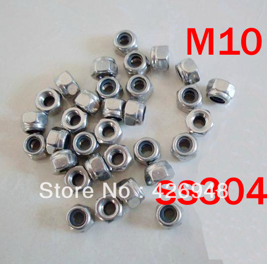 150pcs M10 Stainless steel nylon lock nut SUS304 self locking nut,SS304 Non-slip nuts,DIN985 standard
