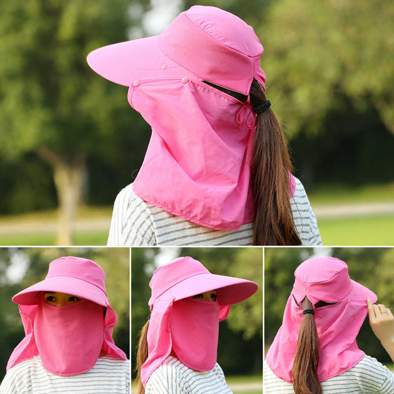 40de456429489 ... Sun Hats Women Summer Fashion UV Protection Face Neck Flap Cap Men  Outdoor Sunbonnet Full Mask ...