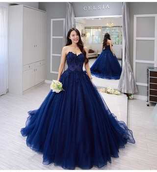 Vintage blue Lace Sleeveless Ball Gown Prom Dresses 2019 Applique Beading Sweetheart Neckline Custom Made Evening Dress 2