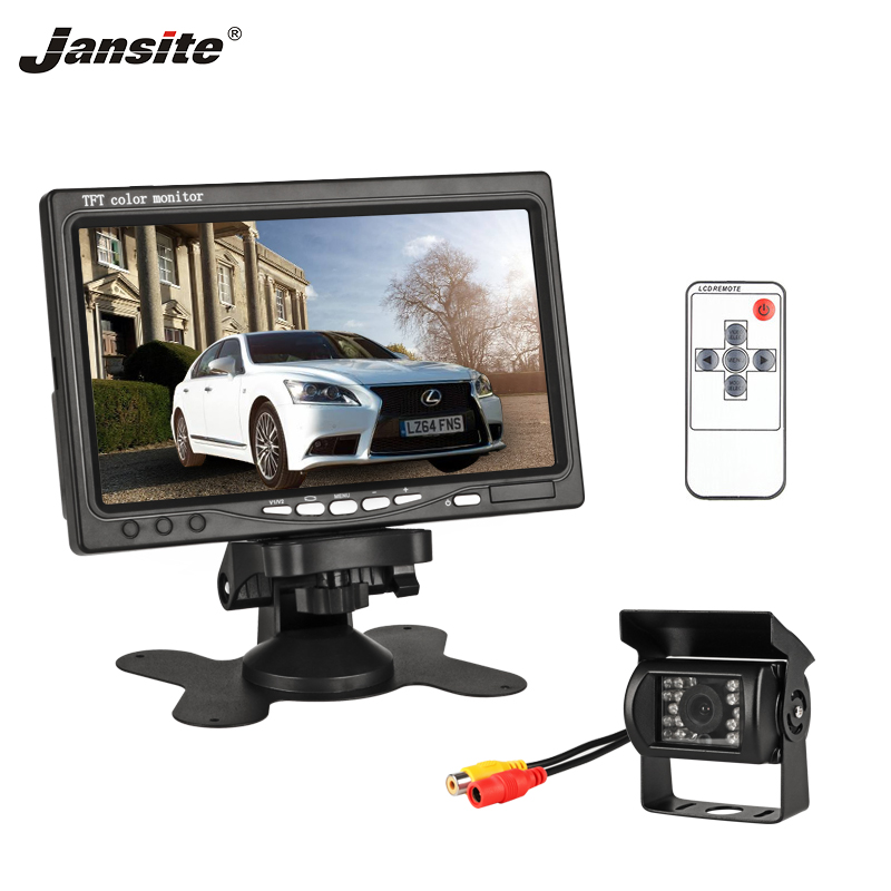 Jansite 7 Inch TFT LCD Car Monitor Display Wired Cameras Reverse Camera Parking System For Car Rearview Monitors Support DVD VCD(China)