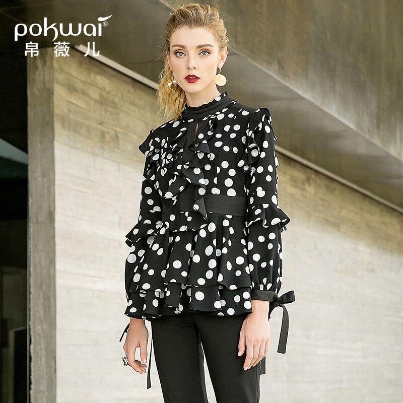POKWAI 2018 осенью новый Женская мода рубашка в горошек девять целых рукав рубашка с воротником