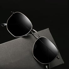 Hexagon Sunglasses Polarized Men Classic Brand Flat Lens Clear Sun Glasses Male Female Retro Metal Frame Travel Eyewear UV400
