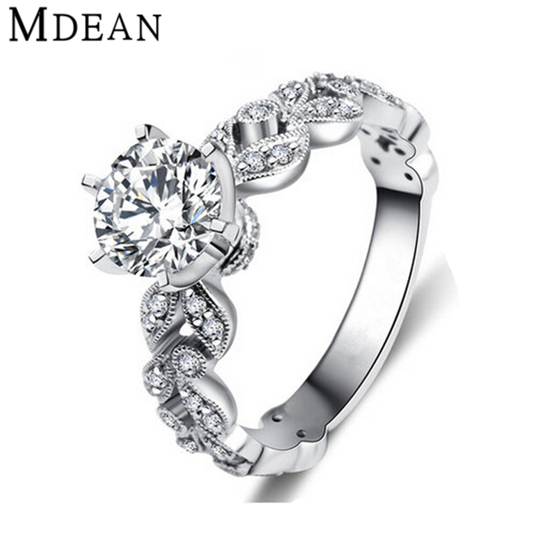 MDEAN Wedding rings for women white gold plated engagement CZ Diamond Jewelry luxury bague bijoux romantic