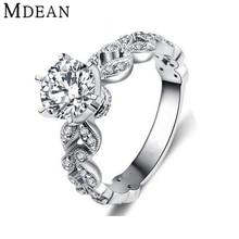 MDEAN anillos de Boda para las mujeres de compromiso de oro blanco plateado CZ Diamond Joyería de lujo bijoux bague accesorios románticos MSR097