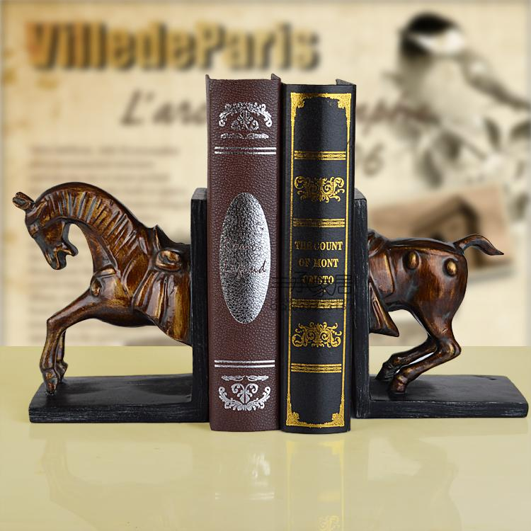 цена American fashion vintage rustic book end bookend set classic brief book file fashion book ends