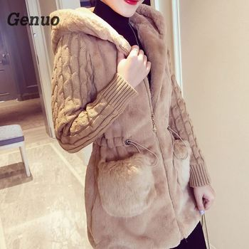 Stitching Plush Thick Hooded Jacket Autumn Winter Fashion Knitted Rabbit Fur Jackets Patch Faux Fur Thickening Female Outerwear women teddy jacket autumn winter faux fur coat thick warm plush outerwear short tops jackets female