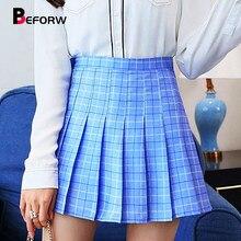 BEFORW Preppy japonés Corea faldas cortas 2018 nueva Alta cintura Mini  faldas para mujer Kawaii rosa de cuadros plisada directo . 0748db4d59ac