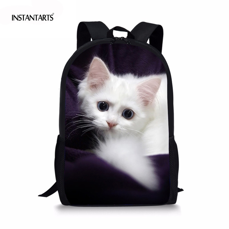 INSTANTARTS 2018 Newest Children's School Bags Kawaii Animal Cat Printing Backpack For Primary School Satchel Children Rucksacks