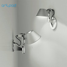 Artpad Nordic Aluminium Silver Bedside Wall Lamp Adjustable Head Bedroom Living Room Led Study Reading Light Fixture