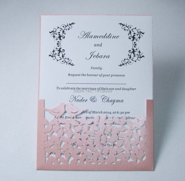 50 Personalized Wedding Love Birds Laser Cut Invitation Card Invitations Free Custom Printing