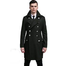 New Brand Men's Wool Trench Coat Men Double Breasted Retro Windbreaker Coats Mens Casual lapel Autumn winter Slim jackets S-6XL