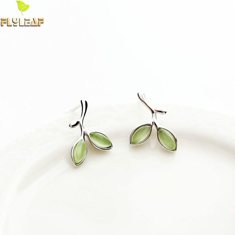 Flyleaf 100% 925 Sterling Silver Green Opal Leaves Buds Stud Earrings For Women Prevent Allergy Fashion Jewelry