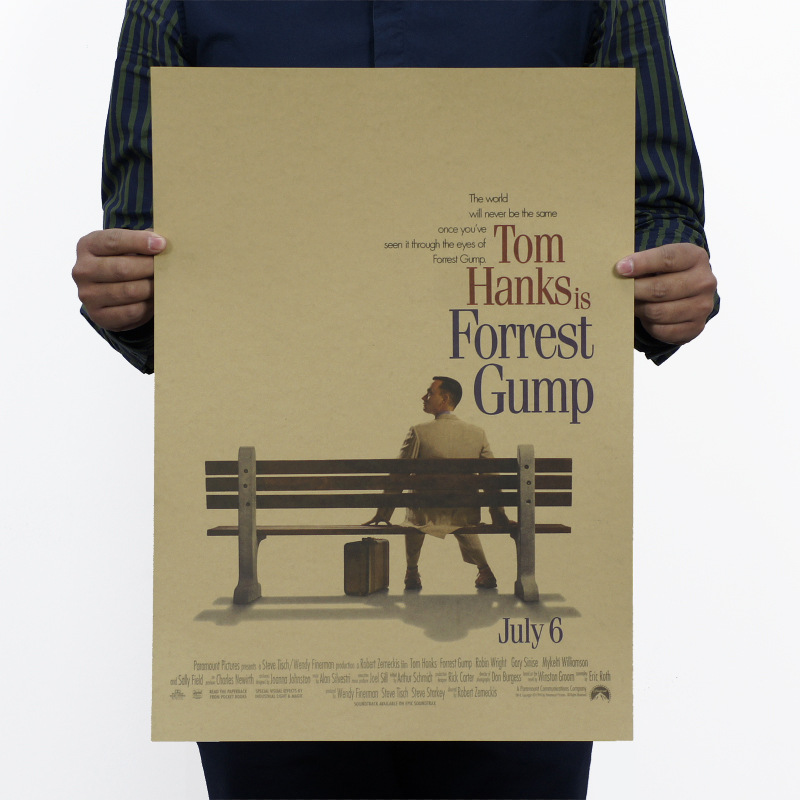 Vintage poster painting Forrest Gump bar counter adornment retro kraft paper posters,Movie poster Wall stickers 51x35.5cm
