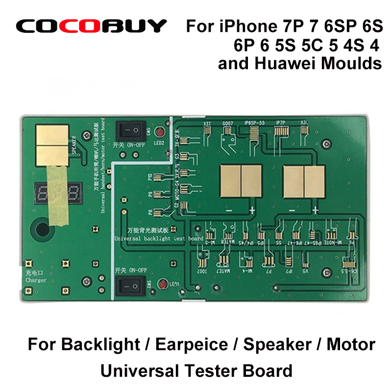 Universal Backlight Tester Board Also Testing Motor Earpiece Speaker for Iphone 7P 7 6SP 6S 6P 6 5S 5C 5 4S 4 for Huawei Model