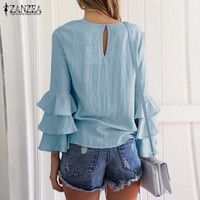 ZANZEA Women Blouses Shirts 2018 Autumn Elegant Ladies O-Neck Flounce Long Sleeve Solid Blusas Casual Loose Tops 4