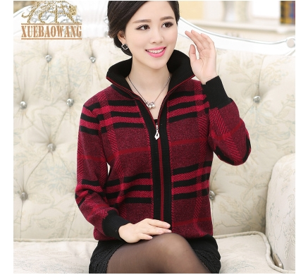 Middle-aged womens clothing qiu dong outfit with thick coat middle-aged mother of zipper sweater sweater cardigan big yards
