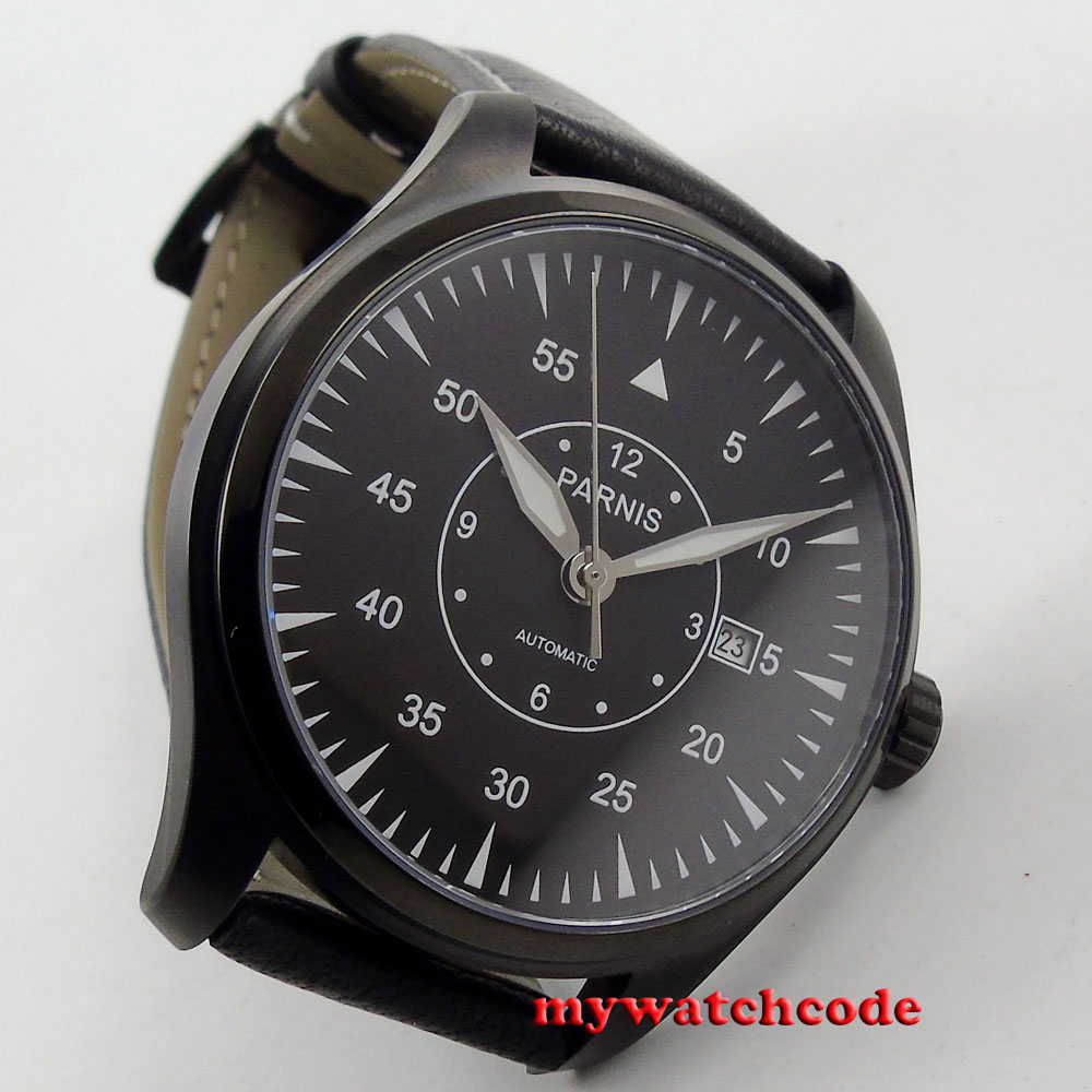 44mm parnis black dial PVD case 21 jewels miyota automatic mens wrist watch P663 все цены