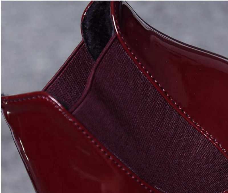 COOTELILI Rahat 5 cm Yüksek Topuklu yarım çizmeler Kadınlar Için Sivri Burun Sıcak Sonbahar Kış Ayakkabı Kadın Pompaları Kırmızı Siyah 35 -39