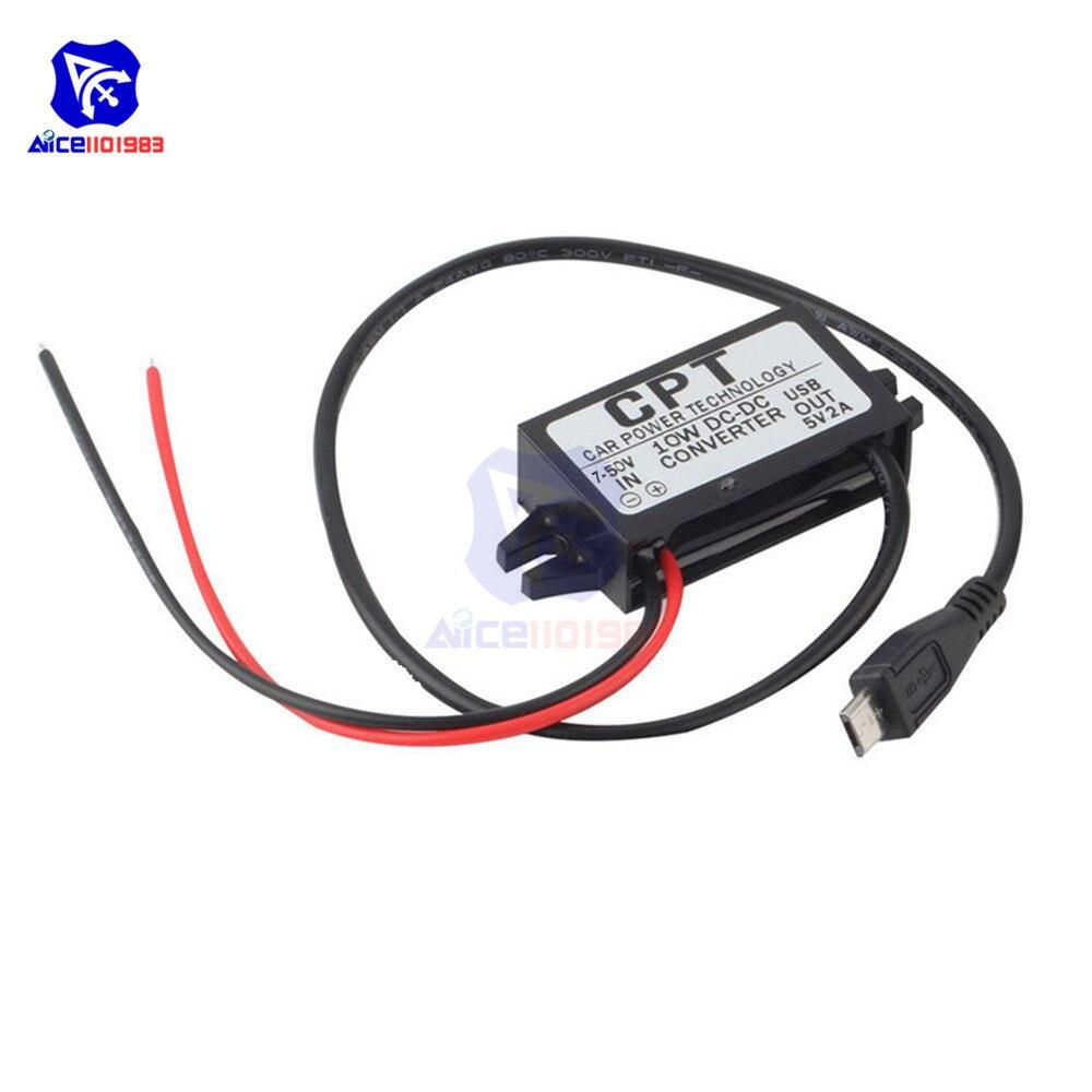Diymore DC-DC DC 7 -50V zu 5V 2A 10W Micro USB Buck Converter Step Down Power versorgung Wasserdicht Adapter für Auto