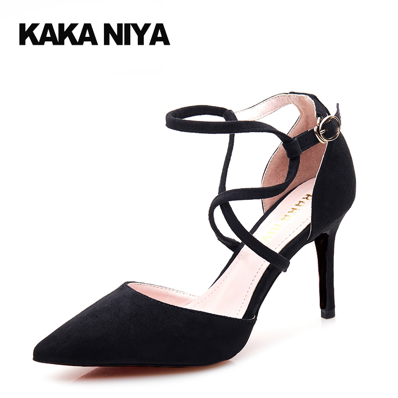 Ladies Black Suede Cross Strap Ankle High Heels Pointed Toe Size 4 34 2017 Thin Sexy 3 Inch Pumps Female Chic New Summer Chinese pointed toe dress shoes ladies pumps high heels ankle strap footwear 4 34 small size crystal stiletto 2017 7cm 3 inch silver