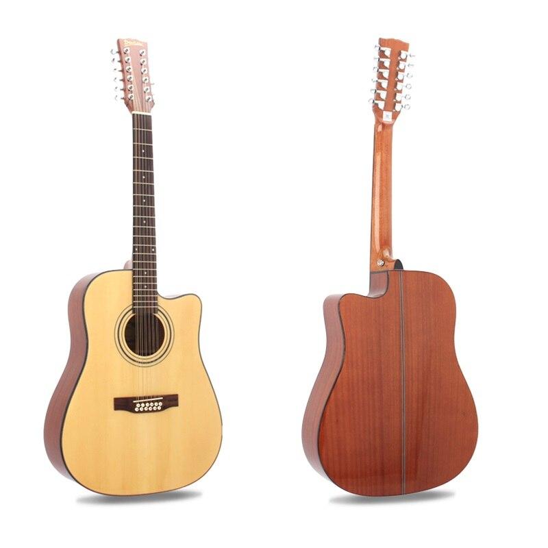 41 pouces Sapele ramasser bois guitare 12 cordes coupe guitare acoustique stratifié guitare folk corde performance avec ramassage unisexe