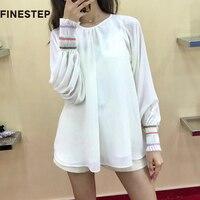 100 шелковые блузки для Для женщин белая шелковая блузка для Для женщин лето синий и белый с длинным рукавом Для женщин Топ